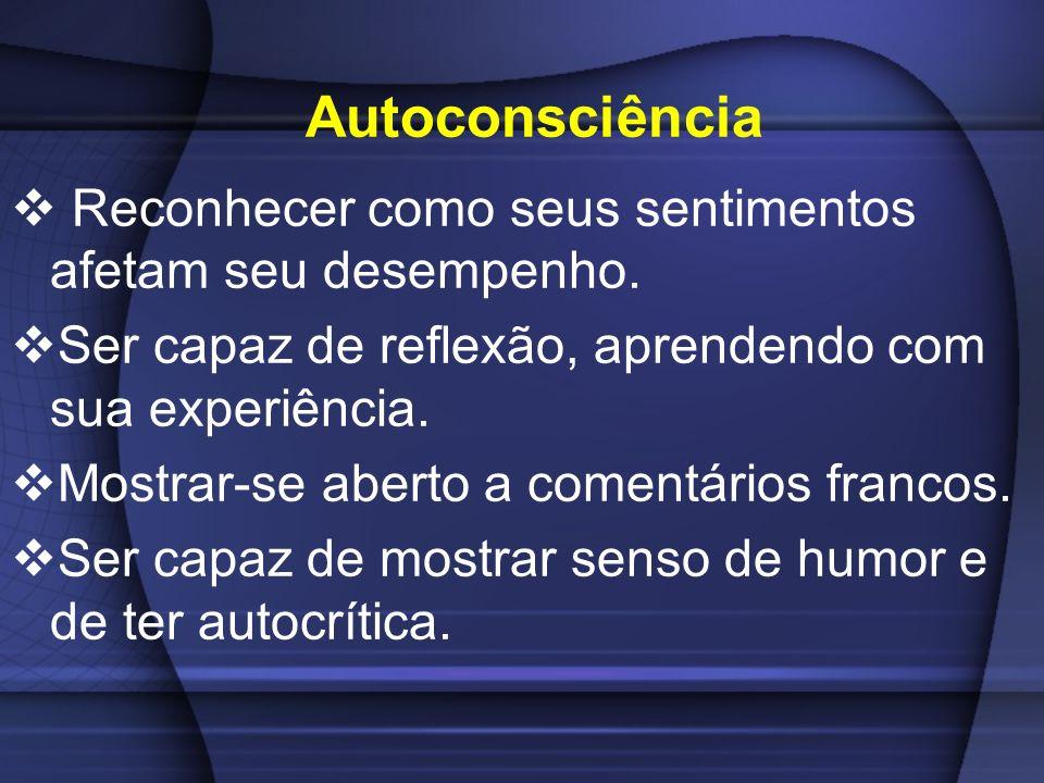 Autoconsciência Reconhecer como seus sentimentos afetam seu desempenho. Ser capaz de reflexão, aprendendo com sua experiência. Mostrar-se aberto a com