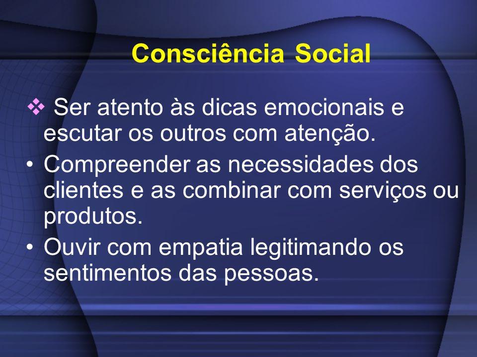 Consciência Social Ser atento às dicas emocionais e escutar os outros com atenção. Compreender as necessidades dos clientes e as combinar com serviços