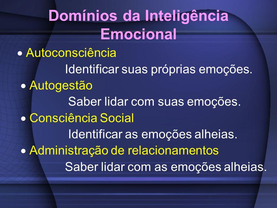 Domínios da Inteligência Emocional Autoconsciência Identificar suas próprias emoções. Autogestão Saber lidar com suas emoções. Consciência Social Iden