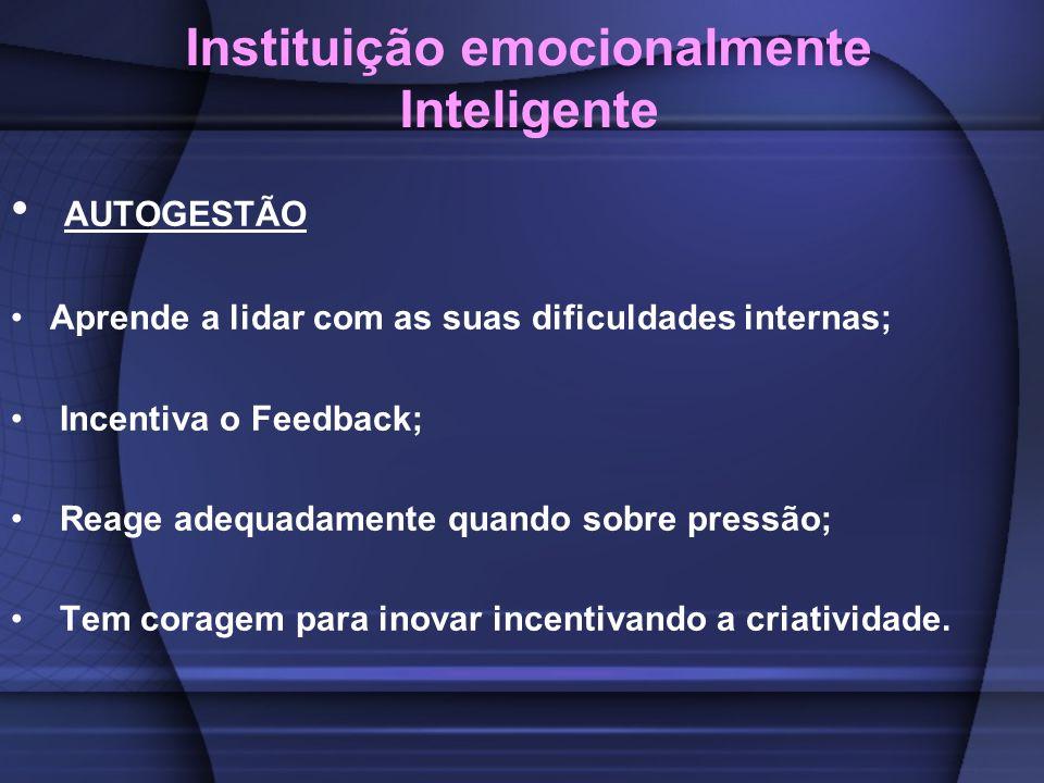Instituição emocionalmente Inteligente AUTOGESTÃO Aprende a lidar com as suas dificuldades internas; Incentiva o Feedback; Reage adequadamente quando