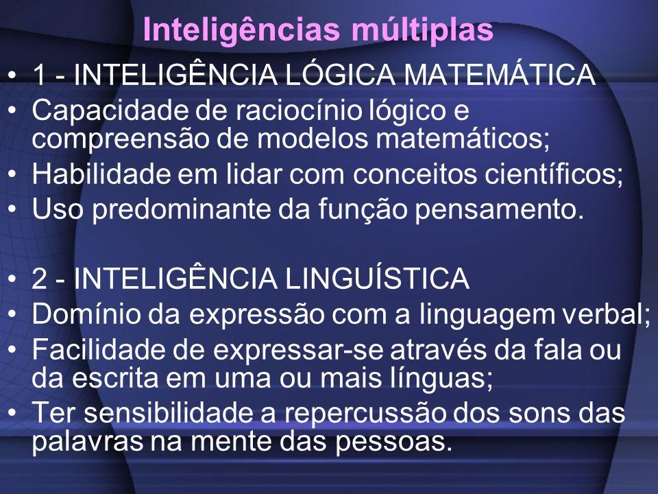 Inteligências múltiplas 3 - INTELIGÊNCIA ESPACIAL Sentido de movimento, localização e direção; Percepção de tempo e espaço em que se inclui; Capacidade de recriar aspectos da experiência visual.