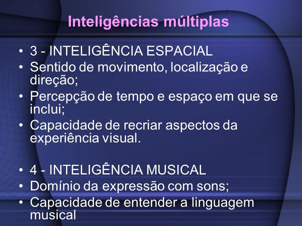 Inteligências múltiplas 3 - INTELIGÊNCIA ESPACIAL Sentido de movimento, localização e direção; Percepção de tempo e espaço em que se inclui; Capacidad