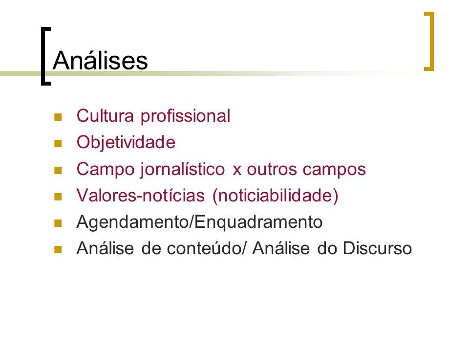 Análises Cultura profissional Objetividade Campo jornalístico x outros campos Valores-notícias (noticiabilidade) Agendamento/Enquadramento Análise de conteúdo/ Análise do Discurso