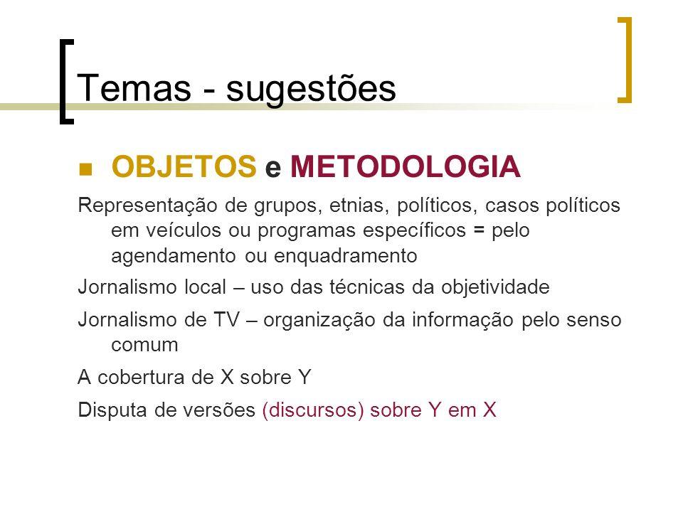 Temas - sugestões OBJETOS e METODOLOGIA Representação de grupos, etnias, políticos, casos políticos em veículos ou programas específicos = pelo agenda