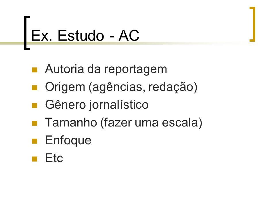 Ex. Estudo - AC Autoria da reportagem Origem (agências, redação) Gênero jornalístico Tamanho (fazer uma escala) Enfoque Etc
