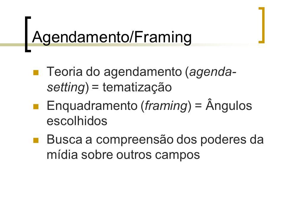 Agendamento/Framing Teoria do agendamento (agenda- setting) = tematização Enquadramento (framing) = Ângulos escolhidos Busca a compreensão dos poderes da mídia sobre outros campos