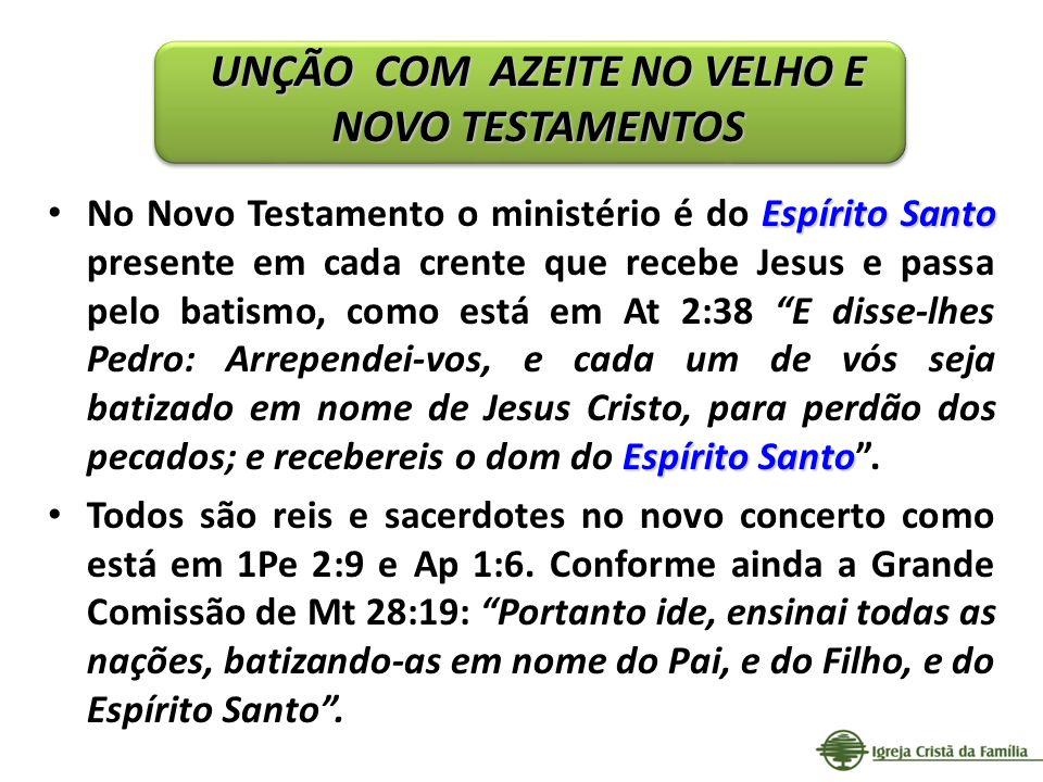 Espírito Santo Espírito Santo No Novo Testamento o ministério é do Espírito Santo presente em cada crente que recebe Jesus e passa pelo batismo, como