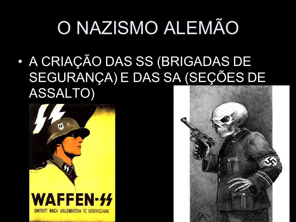 O NAZISMO ALEMÃO A CRIAÇÃO DAS SS (BRIGADAS DE SEGURANÇA) E DAS SA (SEÇÕES DE ASSALTO)