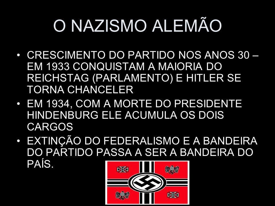 O NAZISMO ALEMÃO CRESCIMENTO DO PARTIDO NOS ANOS 30 – EM 1933 CONQUISTAM A MAIORIA DO REICHSTAG (PARLAMENTO) E HITLER SE TORNA CHANCELER EM 1934, COM