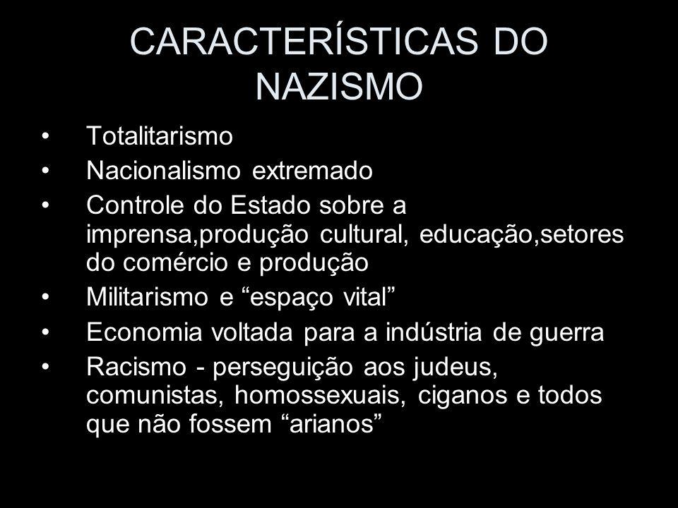 CARACTERÍSTICAS DO NAZISMO Totalitarismo Nacionalismo extremado Controle do Estado sobre a imprensa,produção cultural, educação,setores do comércio e