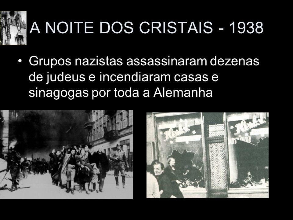 A NOITE DOS CRISTAIS - 1938 Grupos nazistas assassinaram dezenas de judeus e incendiaram casas e sinagogas por toda a Alemanha