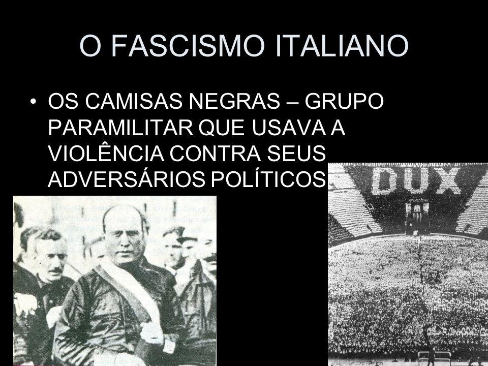 O FASCISMO ITALIANO OS CAMISAS NEGRAS – GRUPO PARAMILITAR QUE USAVA A VIOLÊNCIA CONTRA SEUS ADVERSÁRIOS POLÍTICOS