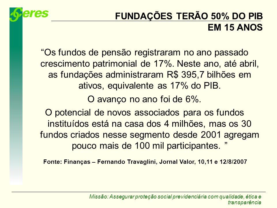 Missão: Assegurar proteção social previdenciária com qualidade, ética e transparência FUNDAÇÕES TERÃO 50% DO PIB EM 15 ANOS Os fundos de pensão regist
