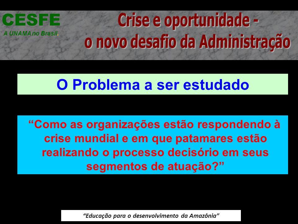 Educação para o desenvolvimento da Amazônia O Problema a ser estudado CESFE A UNAMA no Brasil. Como as organizações estão respondendo à crise mundial