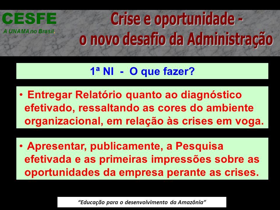Educação para o desenvolvimento da Amazônia 1ª NI - O que fazer? CESFE A UNAMA no Brasil. Entregar Relatório quanto ao diagnóstico efetivado, ressalta