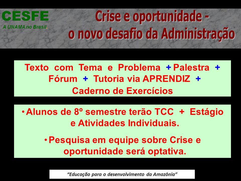 Educação para o desenvolvimento da Amazônia Texto com Tema e Problema + Palestra + Fórum + Tutoria via APRENDIZ + Caderno de Exercícios CESFE A UNAMA