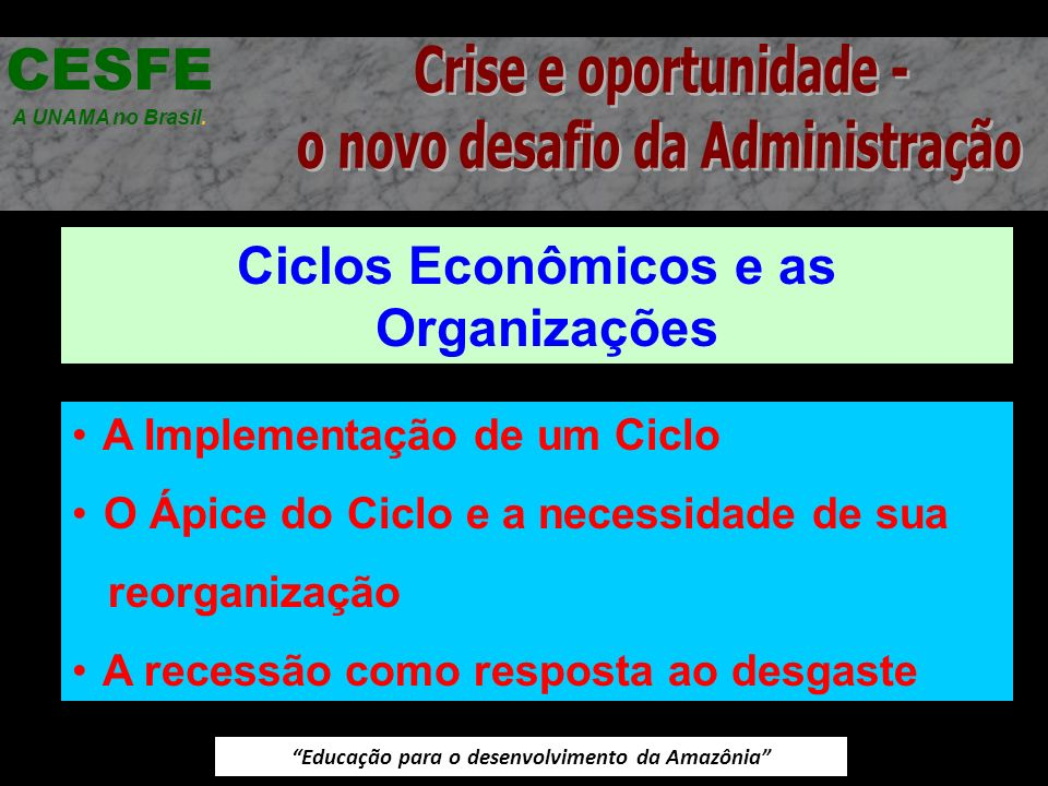 Educação para o desenvolvimento da Amazônia Ciclos Econômicos e as Organizações CESFE A UNAMA no Brasil. A Implementação de um Ciclo O Ápice do Ciclo