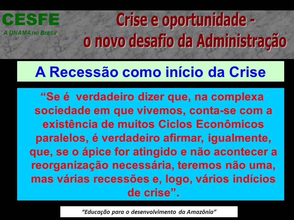 Educação para o desenvolvimento da Amazônia A Recessão como início da Crise CESFE A UNAMA no Brasil. Se é verdadeiro dizer que, na complexa sociedade