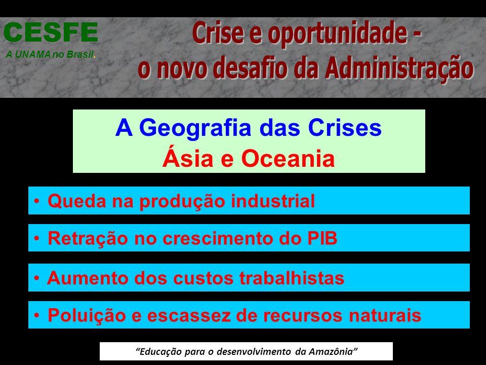 Educação para o desenvolvimento da Amazônia A Geografia das Crises Ásia e Oceania CESFE A UNAMA no Brasil. Queda na produção industrial Retração no cr