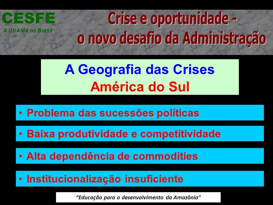 Educação para o desenvolvimento da Amazônia A Geografia das Crises América do Sul CESFE A UNAMA no Brasil. Problema das sucessões políticas Baixa prod