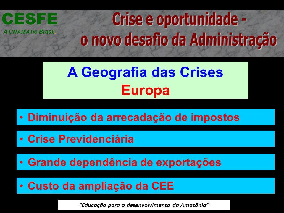 Educação para o desenvolvimento da Amazônia A Geografia das Crises Europa CESFE A UNAMA no Brasil. Diminuição da arrecadação de impostos Crise Previde
