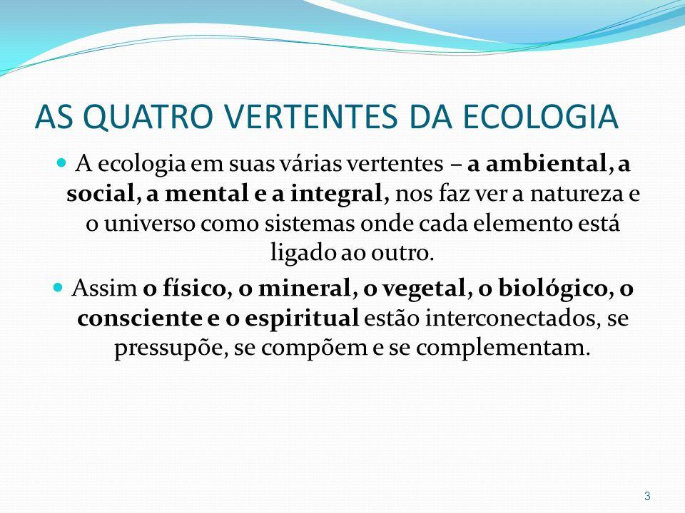 AS QUATRO VERTENTES DA ECOLOGIA A ecologia em suas várias vertentes – a ambiental, a social, a mental e a integral, nos faz ver a natureza e o univers