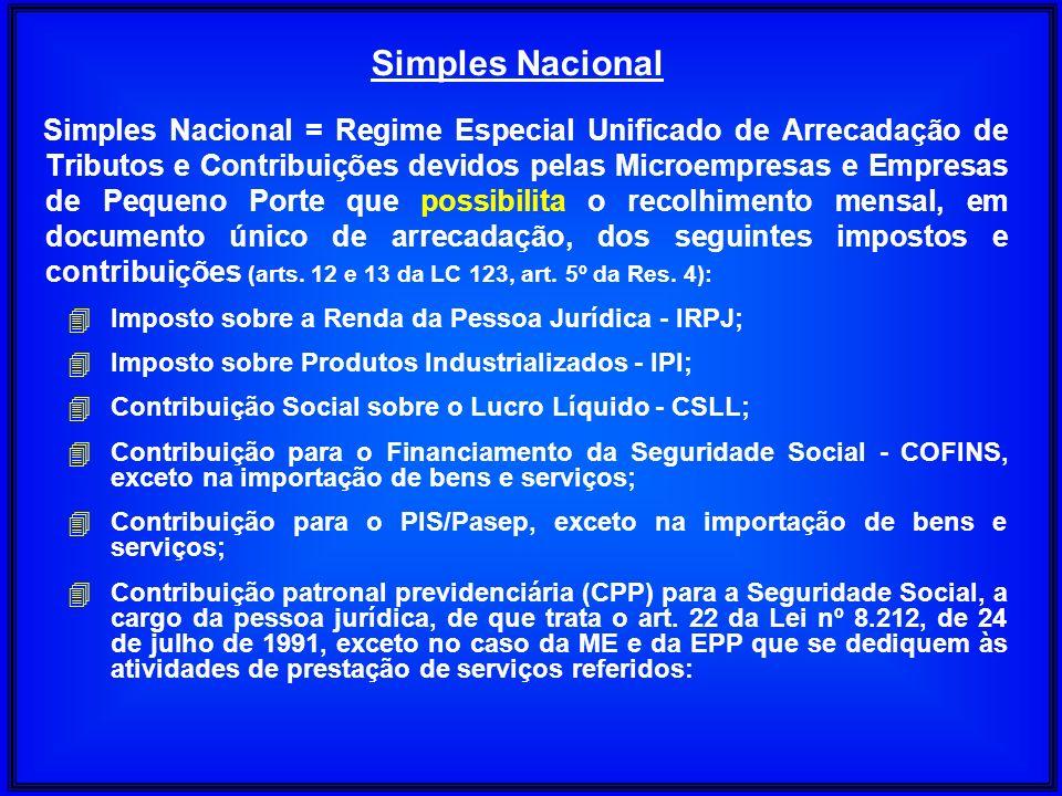 Simples Nacional = Regime Especial Unificado de Arrecadação de Tributos e Contribuições devidos pelas Microempresas e Empresas de Pequeno Porte que po