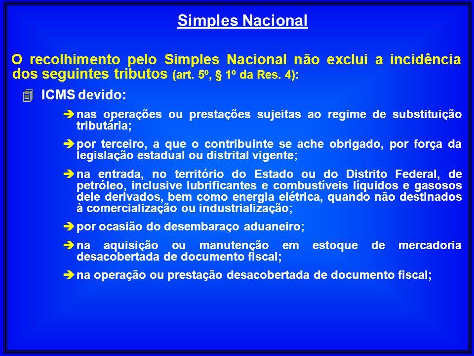 O recolhimento pelo Simples Nacional não exclui a incidência dos seguintes tributos (art. 5º, § 1º da Res. 4): 4 ICMS devido: è nas operações ou prest