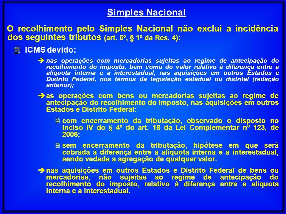 O recolhimento pelo Simples Nacional não exclui a incidência dos seguintes tributos (art. 5º, § 1º da Res. 4): 4 ICMS devido: è nas operações com merc