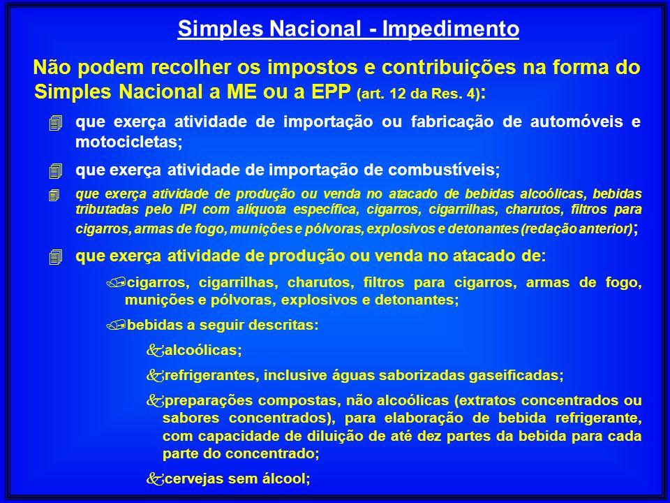 Não podem recolher os impostos e contribuições na forma do Simples Nacional a ME ou a EPP (art. 12 da Res. 4) : 4 que exerça atividade de importação o