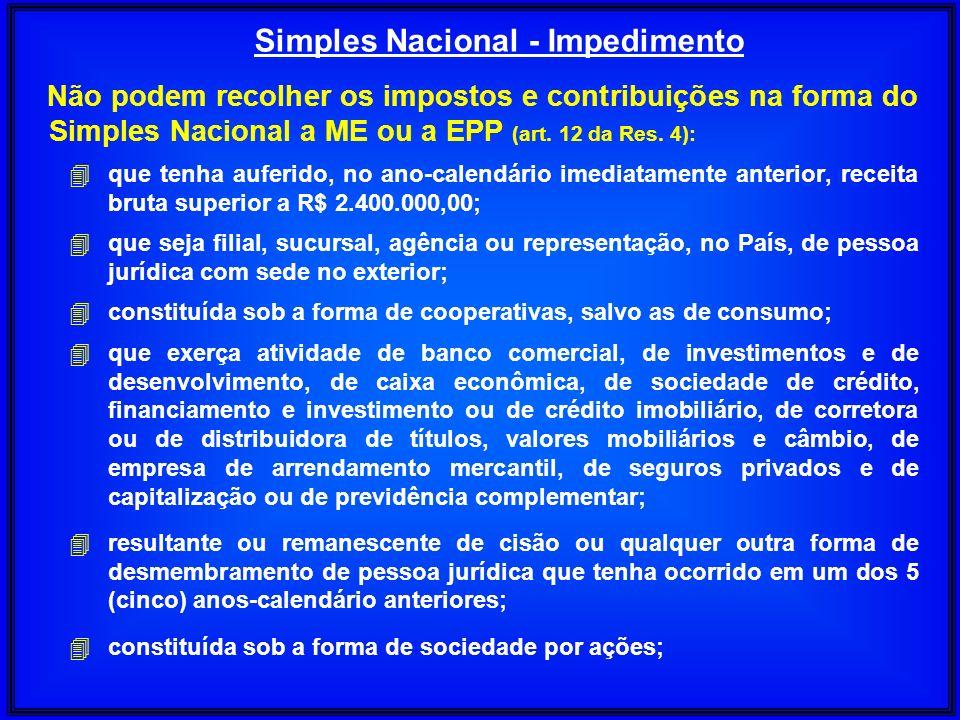 Não podem recolher os impostos e contribuições na forma do Simples Nacional a ME ou a EPP (art. 12 da Res. 4): 4 que tenha auferido, no ano-calendário