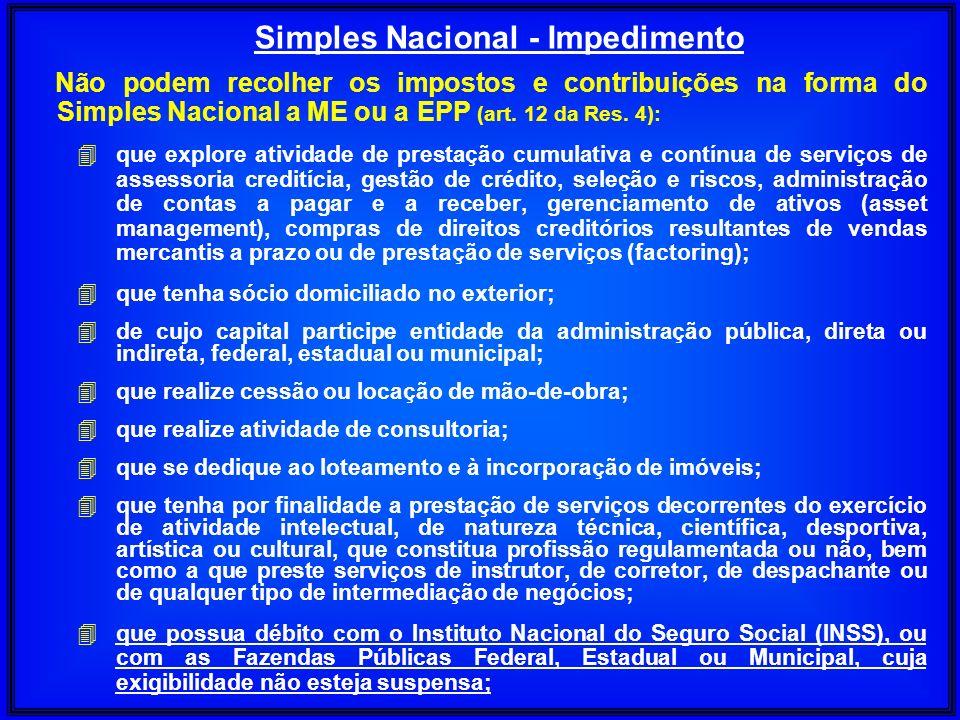 Não podem recolher os impostos e contribuições na forma do Simples Nacional a ME ou a EPP (art. 12 da Res. 4): 4 que explore atividade de prestação cu