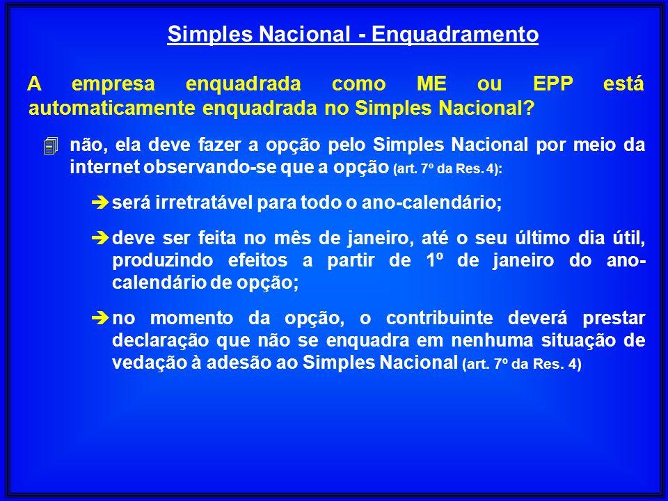 A empresa enquadrada como ME ou EPP está automaticamente enquadrada no Simples Nacional? 4não, ela deve fazer a opção pelo Simples Nacional por meio d