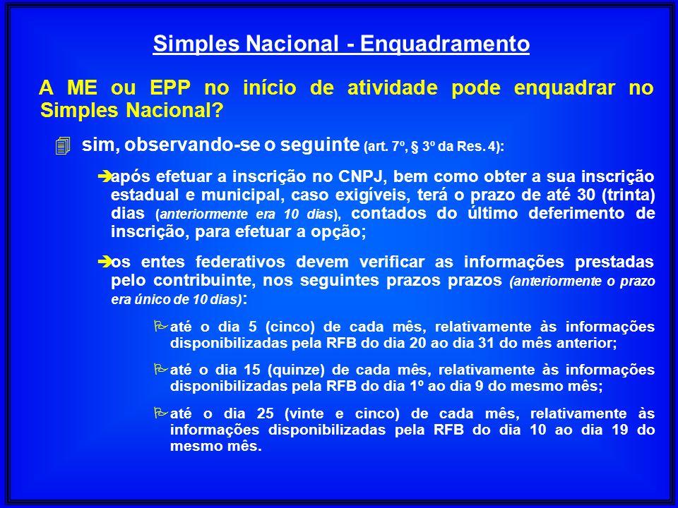 A ME ou EPP no início de atividade pode enquadrar no Simples Nacional? 4sim, observando-se o seguinte (art. 7º, § 3º da Res. 4): è após efetuar a insc