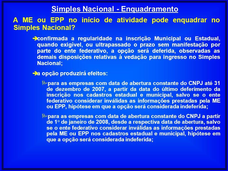 A ME ou EPP no início de atividade pode enquadrar no Simples Nacional? è confirmada a regularidade na inscrição Municipal ou Estadual, quando exigível