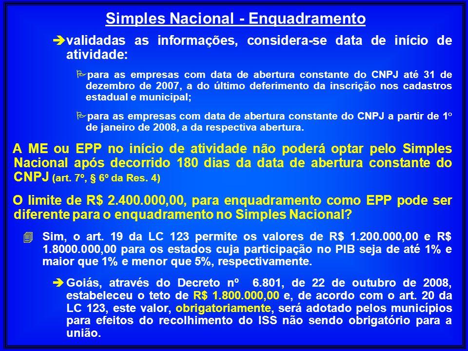 è validadas as informações, considera-se data de início de atividade: P para as empresas com data de abertura constante do CNPJ até 31 de dezembro de