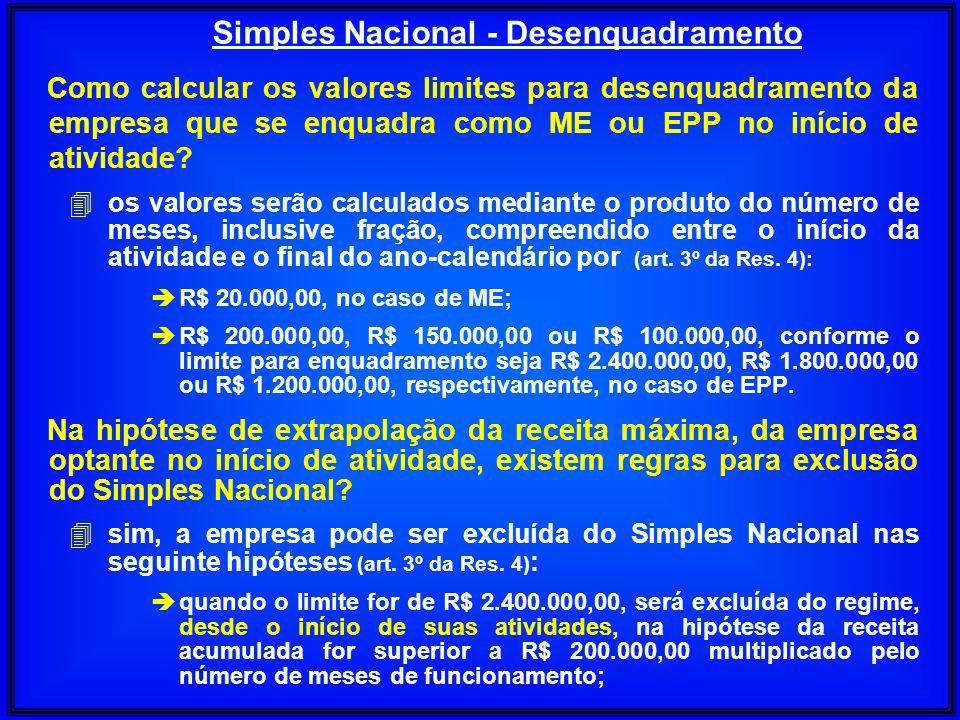 Como calcular os valores limites para desenquadramento da empresa que se enquadra como ME ou EPP no início de atividade? 4os valores serão calculados