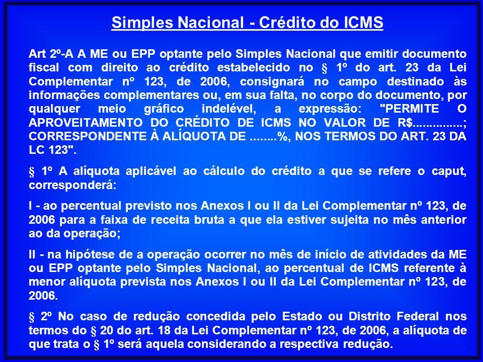 Art 2º-A A ME ou EPP optante pelo Simples Nacional que emitir documento fiscal com direito ao crédito estabelecido no § 1º do art. 23 da Lei Complemen