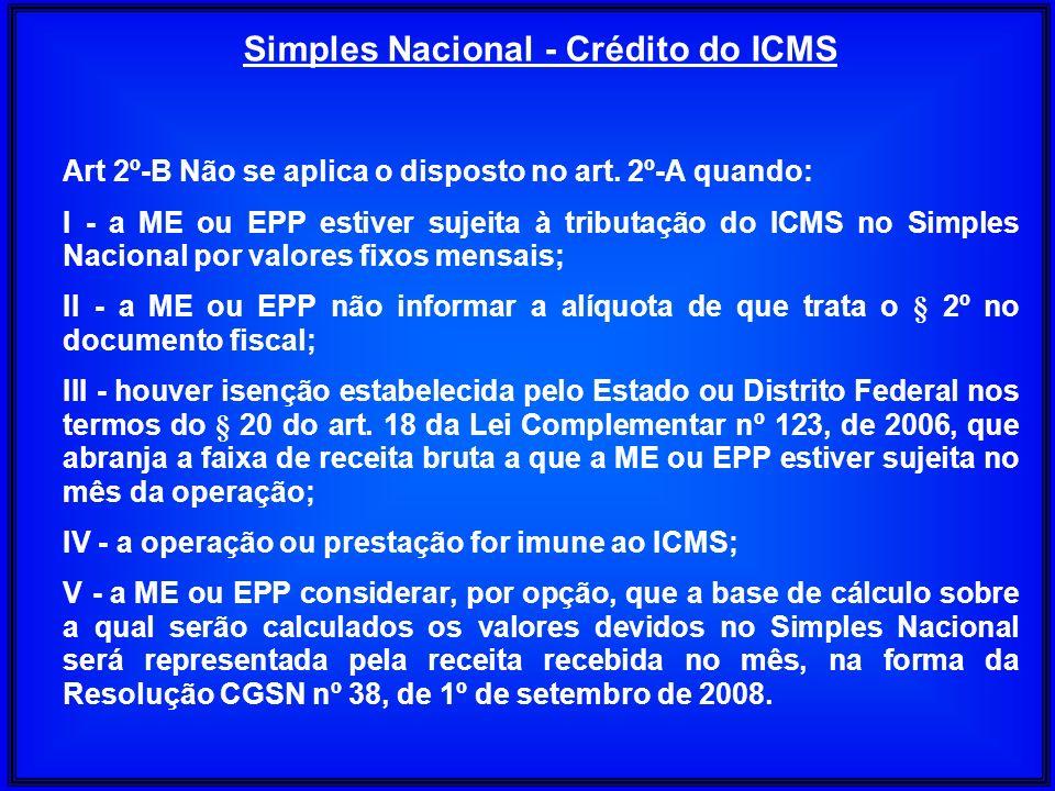 Art 2º-B Não se aplica o disposto no art. 2º-A quando: I - a ME ou EPP estiver sujeita à tributação do ICMS no Simples Nacional por valores fixos mens