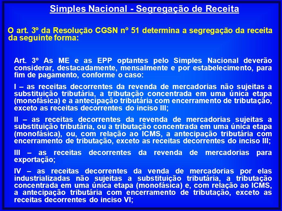 O art. 3º da Resolução CGSN nº 51 determina a segregação da receita da seguinte forma: Art. 3º As ME e as EPP optantes pelo Simples Nacional deverão c