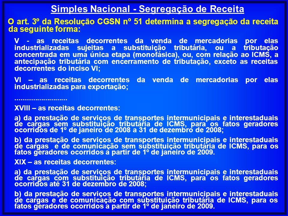 O art. 3º da Resolução CGSN nº 51 determina a segregação da receita da seguinte forma: V - as receitas decorrentes da venda de mercadorias por elas in
