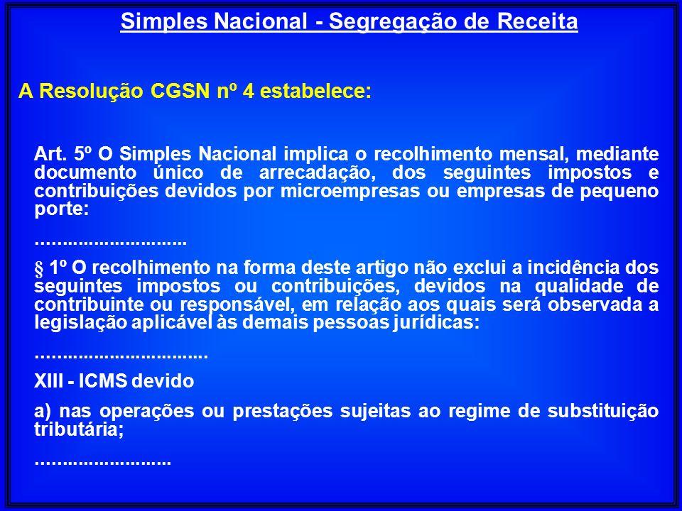 A Resolução CGSN nº 4 estabelece: Art. 5º O Simples Nacional implica o recolhimento mensal, mediante documento único de arrecadação, dos seguintes imp
