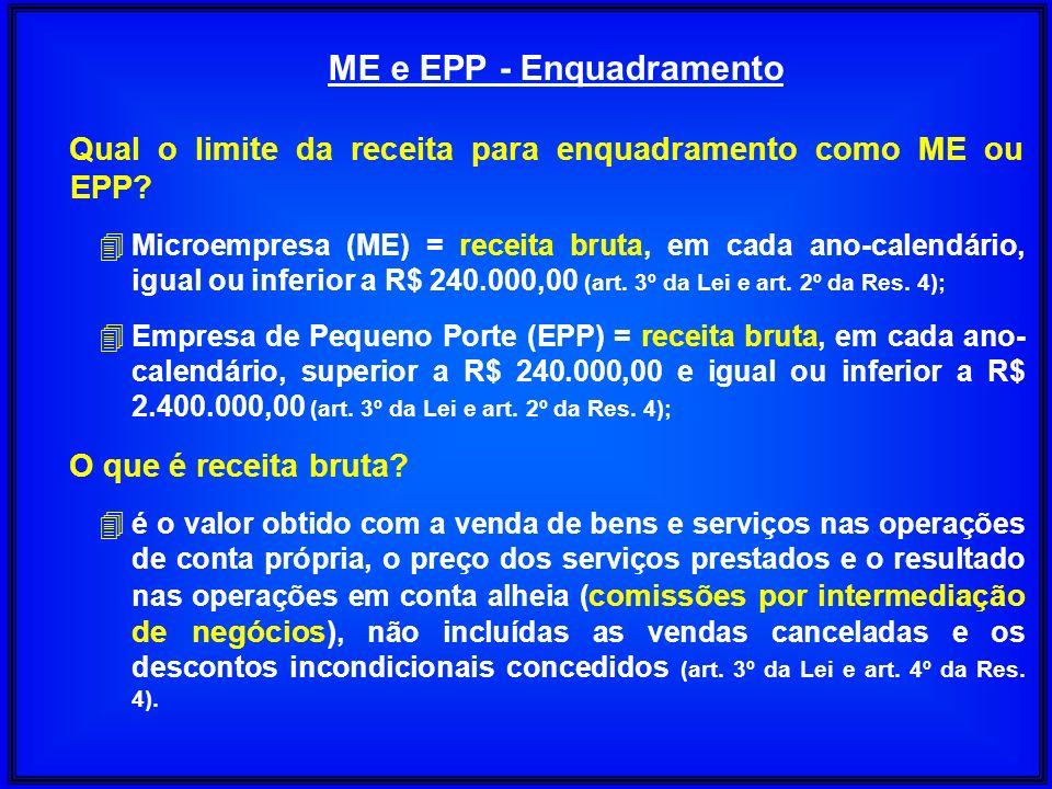 Qual o limite da receita para enquadramento como ME ou EPP? 4 Microempresa (ME) = receita bruta, em cada ano-calendário, igual ou inferior a R$ 240.00