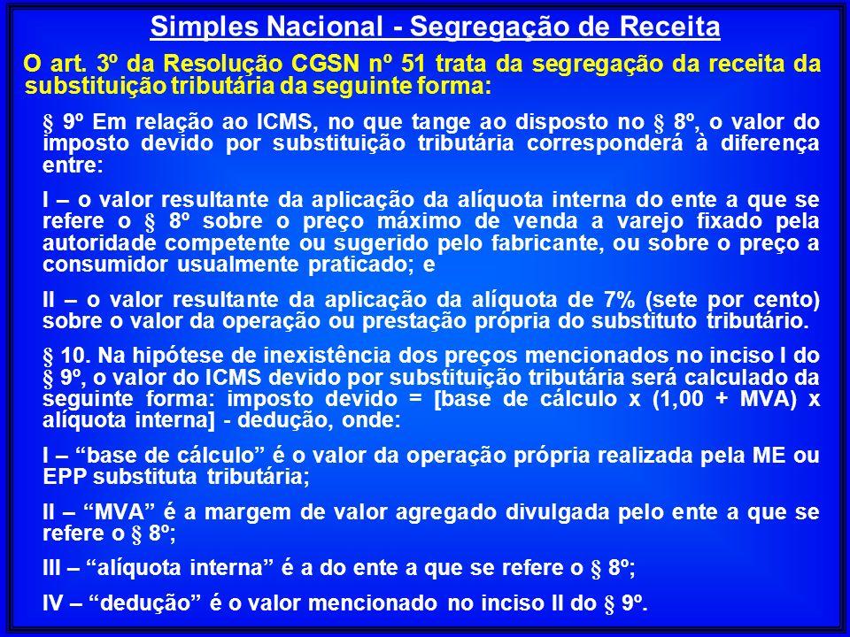 O art. 3º da Resolução CGSN nº 51 trata da segregação da receita da substituição tributária da seguinte forma: § 9º Em relação ao ICMS, no que tange a