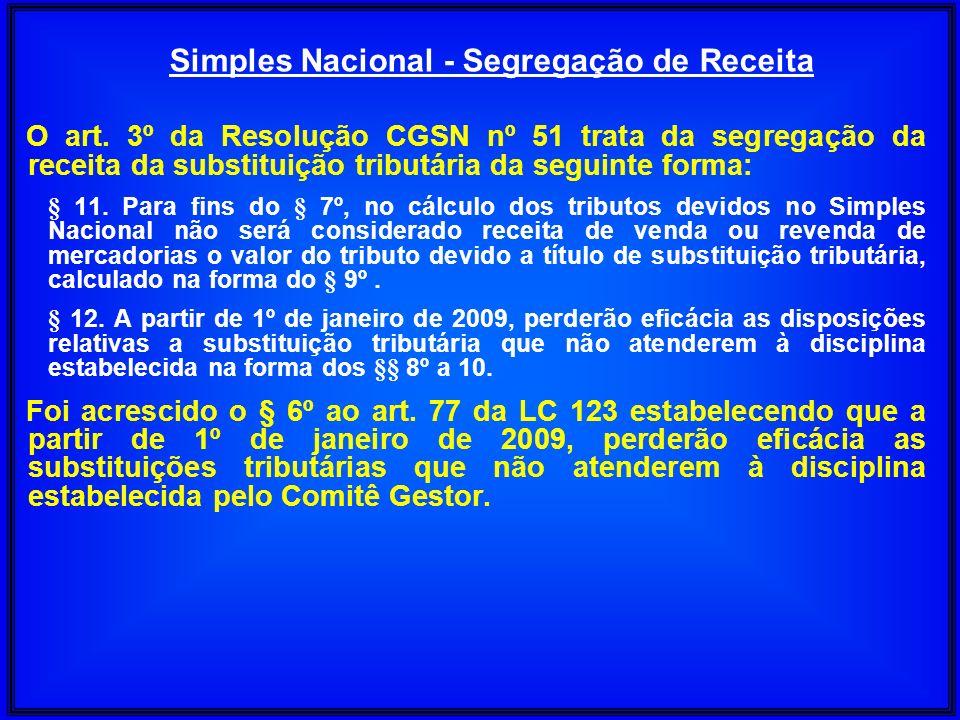 O art. 3º da Resolução CGSN nº 51 trata da segregação da receita da substituição tributária da seguinte forma: § 11. Para fins do § 7º, no cálculo dos