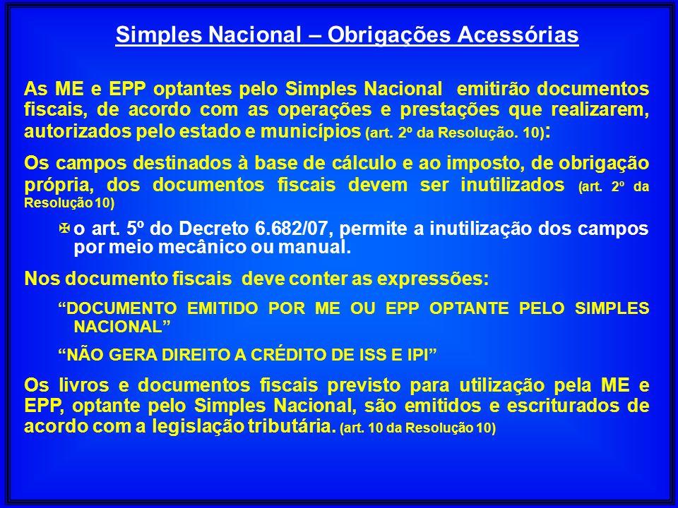 Simples Nacional – Obrigações Acessórias As ME e EPP optantes pelo Simples Nacional emitirão documentos fiscais, de acordo com as operações e prestaçõ