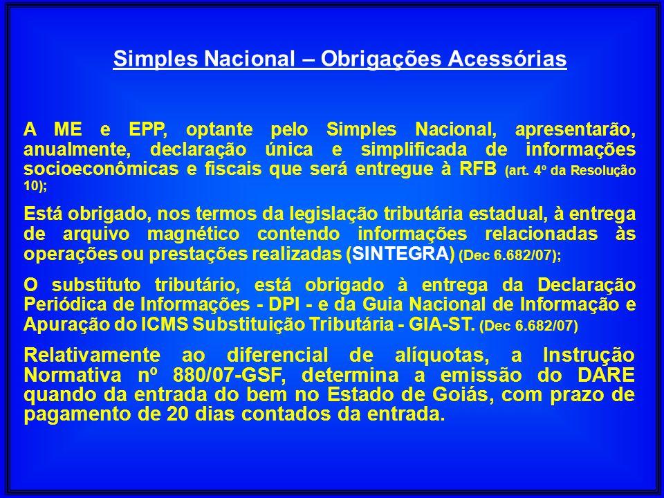 Simples Nacional – Obrigações Acessórias A ME e EPP, optante pelo Simples Nacional, apresentarão, anualmente, declaração única e simplificada de infor