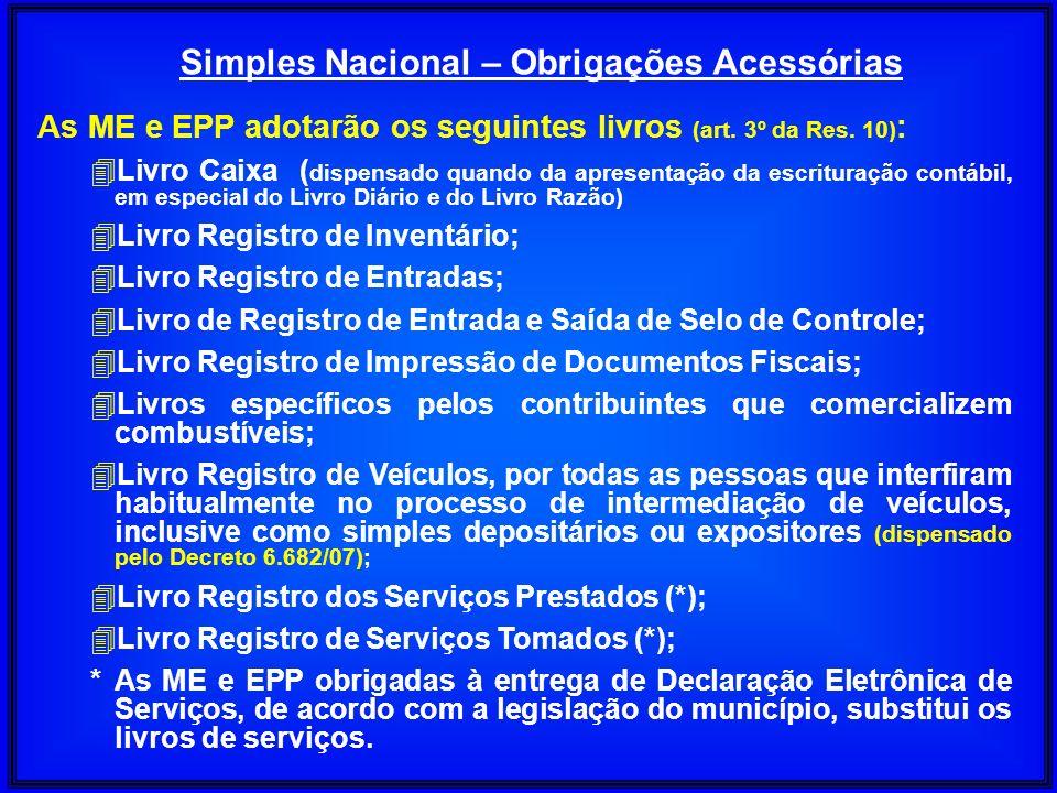 Simples Nacional – Obrigações Acessórias As ME e EPP adotarão os seguintes livros (art. 3º da Res. 10) : 4Livro Caixa ( dispensado quando da apresenta