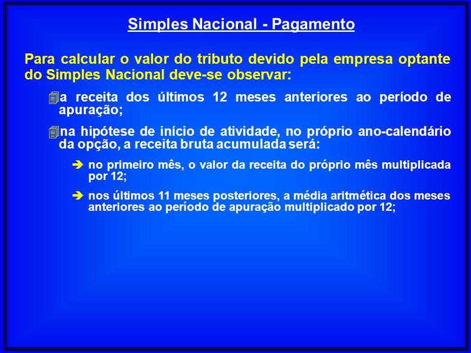 Simples Nacional - Pagamento Para calcular o valor do tributo devido pela empresa optante do Simples Nacional deve-se observar: 4a receita dos últimos