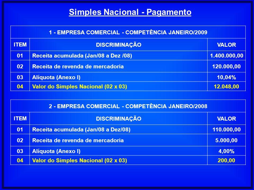 Simples Nacional - Pagamento 1 - EMPRESA COMERCIAL - COMPETÊNCIA JANEIRO/2009 ITEM DISCRIMINAÇÃOVALOR 01Receita acumulada (Jan/08 a Dez /08)1.400.000,